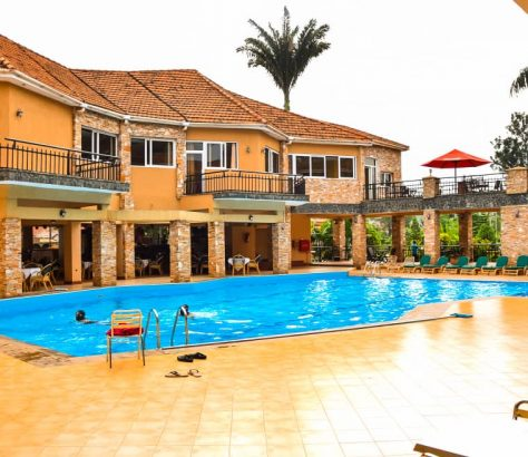 The swimming pool Area of Wash and Wills hotel in Mbale.